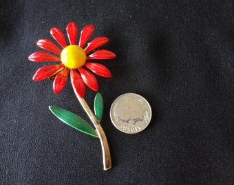 Brooch Pin: Reddish Orange 1960's Enamel Flower Pin