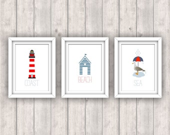 INSTANT DOWNLOAD - Set of 3 Nautical Prints - 5x7 Digital Jpg Files - Lighthouse, Beach Hut, Seagull With Umbrella - Seaside, Coastal Decor