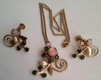 Vintage Gold Opalescent Opal Rhinestone Pendant Necklace & Screw Earrings Set