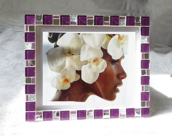 8x10 frame - Mosaic photo frame - Purple frame - Photo frame 8x10 - Picture frame 8x10 - Purple frames - Mosaic art - Gift for her