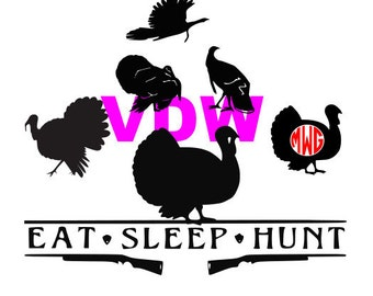 Turkey Silhouette SVG, DXF and EPS vinyl cut Files, for Cameo and Cricut Explore machines.