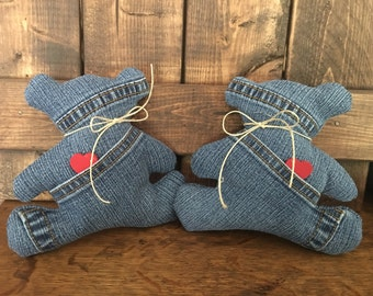 Denim Folk Art Heart & Bear