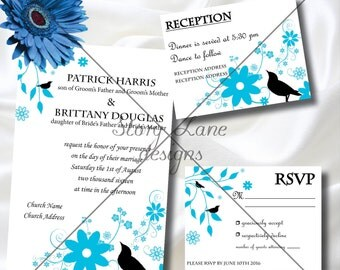 "Wedding Invitation/RSVP/Reception Card ""Black Bird"""