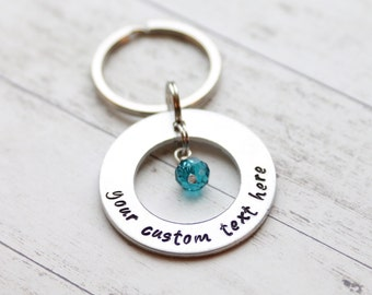 Circle personalized hand stamped keychain with dangle charm hand stamped keychain personalized keychain custom text keychain valentine's day