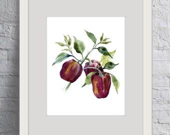 Vegetable art. Vegetable painting. Watercolor vegetables. Watercolor painting. Watercolor art Giclée print. Vegetable print. Bell pepper