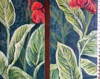 Painting of Cannas with red flowers and leaves. Original oil painting by Carina Turck-Clark