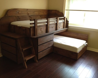Bunk bed with dressers