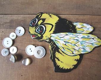 Bumblebee Vintage  DIECUT Dimestore Cardboard Sign NOS