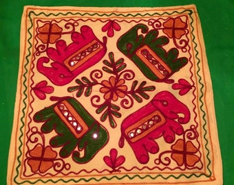 Rajasthani Indian Cushion Cover; Indian Style, Handmade, Embroidered Cushion Cover