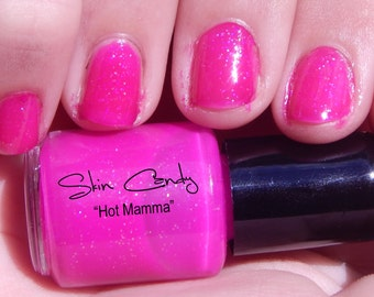 Hot Pink Nail Polish - Hot Mamma 5ml Sample 5 Free Nail Polish