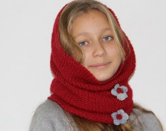 red Snood infinity scarf, chunky Womens Circle Scarf, Accessories For Her Gift Ideas, Red Hood with flowers