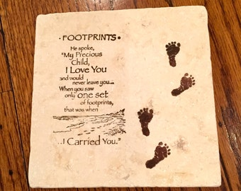 Religious Footprints Trivets 6X6 (Set of 2)