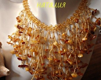 handmade necklace with amber