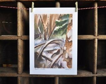 Forest in Winter - Alaska Watercolor Print