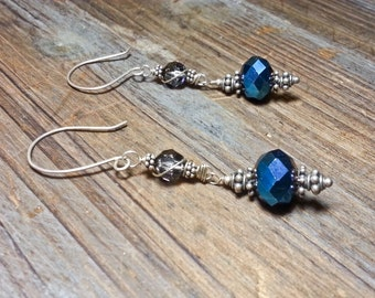 Faceted Navy Chrome, Wire Wrapped Swarovski & Bali Silver Earrings