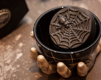 Spiderweb+Dark Cinnamon Phthalate Free Oil+Olive Oil and Shea Butter+3 oz.+Halloween Artisan Bar Soap