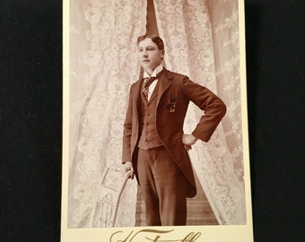 Cabinet Card of a Dapper Young Man, 19th Century Antique Photograph