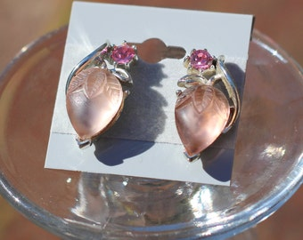 Vintage Estate  Strawberry Earrings Pink Thermoset Rhinestone Silver tone