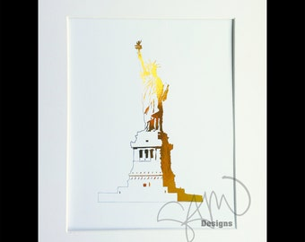 Statue of Liberty Detail Sketch Shiny Metalic Gold Foil Monument Print