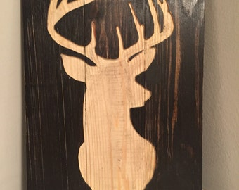Carved Deer Head Silhouette - Reclaimed Pallet Wood Sign