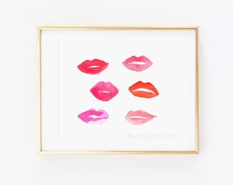 "8 x 10 ""Lips"" Lipstick Kiss Watercolor Art Print - Pink, Red, Coral, Blush, Smooch"
