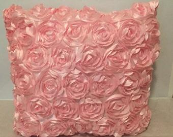 Light Pink Raised Flower Throw Pillow