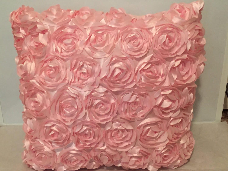 light pink raised flower throw pillow. Black Bedroom Furniture Sets. Home Design Ideas