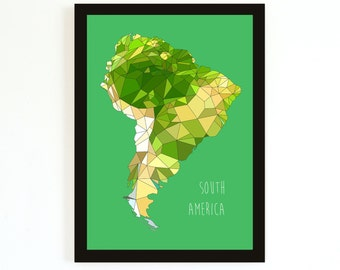 SOUTH America - Giclee Print - Green - Limited edition - FREE SHIPPING