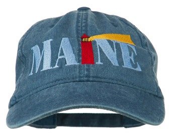 Maine Lighthouse Embroidered Washed Pigment Dyed Cap