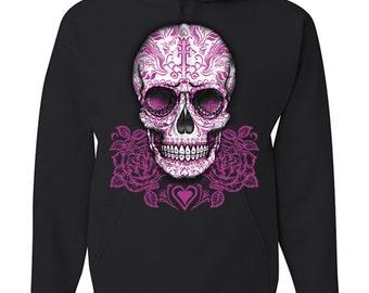 Pink Sugar Skull With Roses Calavera Hoodie Day of The Dead Dia de los Muertos 100492-S