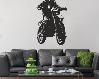 Motocross Wall Decal, Extreme Sports Vinyl Stickers, Motocycle Wall Decal, Dirt  Bike Wall Part 44