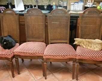2 Wicker Back Dining Chairsbegging To Be Refinished