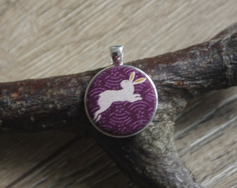 Leaping bunny pendant, rabbit necklace, bunny jewelery, rabbit print, rabbit gifts, bunny gifts, rabbit lover gift, bunny print