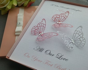 Birthday Card Handmade Personalised Boxed Keepsake 3D Butterfly Flowers 1st 2nd 16th 18th 21st Daughter Granddaughter Mother Grandmother