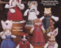 Animal Air Freshener Dolls, Plastic Canvas Pattern Booklet The Needlecraft Shop 963121 OOP HTF