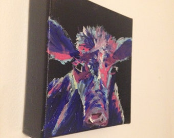 modern abstract calf painting, cow painting, calf painting, ranch decor, ranchers decor, calfs wall hanging, calf art, cattle wall decor