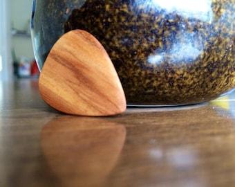 Handmade Red Sweetgum Wood Guitar Pick, gifts for musicians, gifts for guitarists, gift guitar player