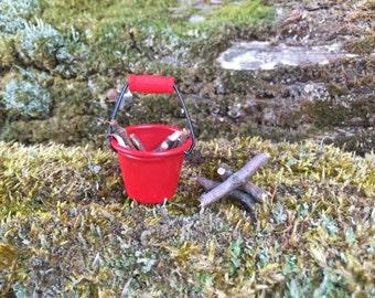 Miniature Red Bucket, Fairy Accessories, Dollhouse Accessories, Red Bucket, Faeire