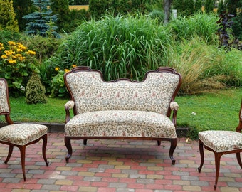 Antique Sofa and two Chairs Walnut wood original fabric Complete Set of three parts Set from Switzerland  Late 1920 s - Early 1930 s