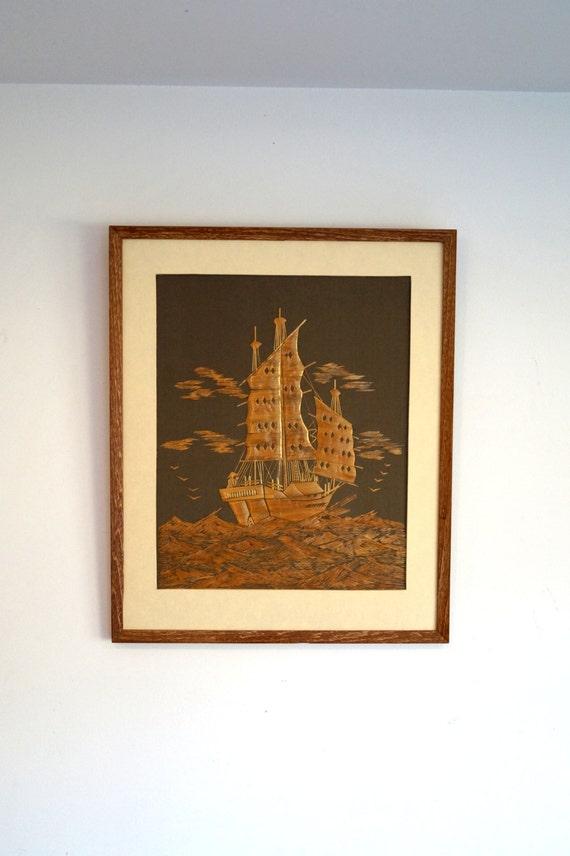 Houten schilderij gemaakt met kleine stukjes van hout houten plaque ...