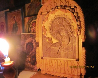 Carved icon of Holy right-believing Prince Alexander Nevsky.
