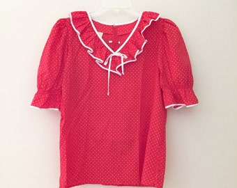 Country Western Ruffled Polka Dot Square Dancing Blouse