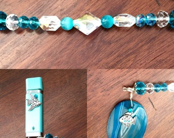 OOAK turquoise crystal flash drive keeper with flash drive(16gb) included, womens thumb drive, jump drive, memory stick, key chain, key fob