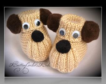 "Handmade knitting baby slippers ""Dogs"" (1 pair)"