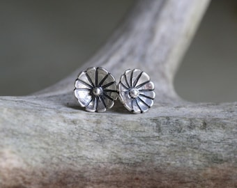 Sterling Silver Flower Stud Earrings - Everyday Earrings - Floral Post Earrings - Gift for Her - Birthday Gift - Dainty Stud Earrings
