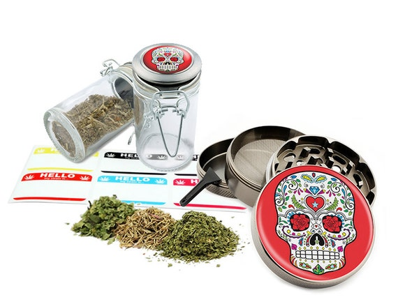 "Sugar Skull - 2.5"" Zinc Alloy Grinder & 75ml Locking Top Glass Jar Combo Gift Set Item # G021615-030"