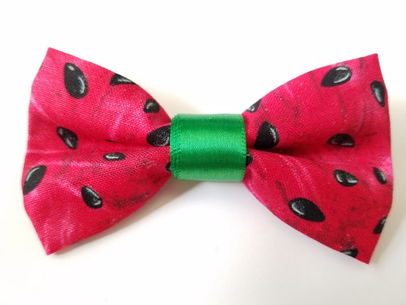 Watermelon Bow for Cat or Small Dog Collars, Matching Velcro Collar, 100% Sales Goes to Feeding Feral Cats