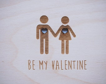 "Wooden Postcard ""Be my Valentine"" with your personalized wishes and adress, engraved"