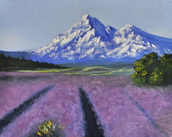 Lavender field in mountain - oil painting (20 x 16)