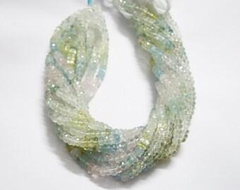 Multi color Aquamarine Faceted Rondelle ,  Aquamarine Rondelle Beads
